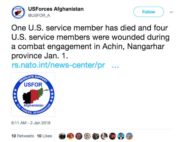 Screen Shot 2018 01 02 at 11.40.39 AM - One service member killed, four wounded during combat in Afghanistan