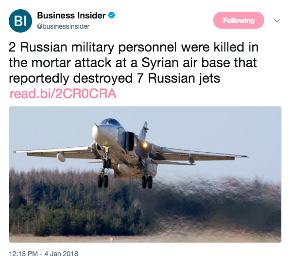 Screen Shot 2018 01 04 at 1.58.17 PM - 7 Russian jets destroyed by 'radical Islamist' mortar attack at Syrian air base, report says