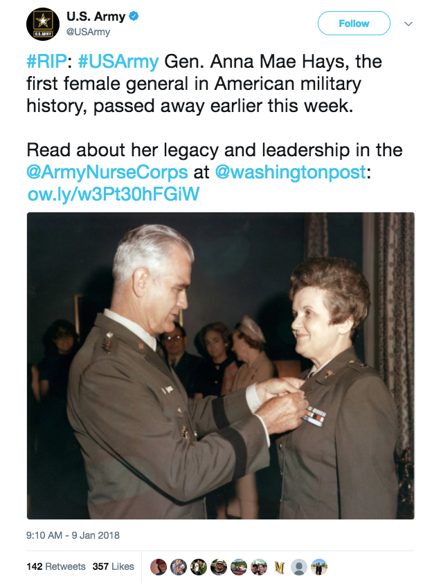 Screen Shot 2018 01 09 at 3.22.51 PM - First female general in US military dies at 97