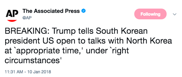 Screen Shot 2018 01 10 at 12.27.54 PM - Trump says he is open to North Korea talks 'under right circumstances'