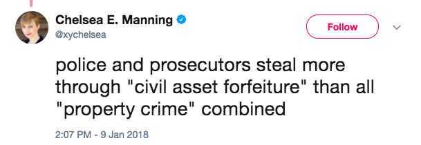 Screen Shot 2018 01 10 at 2.26.22 PM - Chelsea Manning tweets 'F**k the police' on law enforcement appreciation day