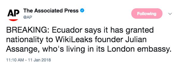 Screen Shot 2018 01 11 at 11.16.43 AM - Ecuador grants citizenship to WikiLeaks founder Julian Assange