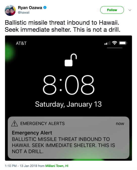 Screen Shot 2018 01 13 at 2.50.13 PM - Hawaii mistakenly sends 'ballistic missile inbound' alert to residents