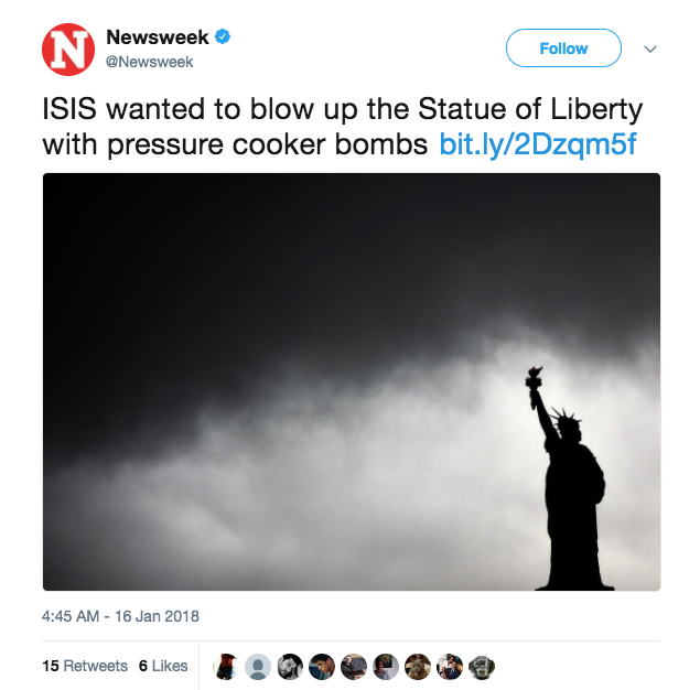 Screen Shot 2018 01 16 at 11.37.39 AM - ISIS terrorist planned to blow up Statue of Liberty with bombs