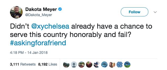 Screen Shot 2018 01 16 at 2.57.25 PM - Medal of Honor recipient Dakota Meyer slams Chelsea Manning after Senate run announcement