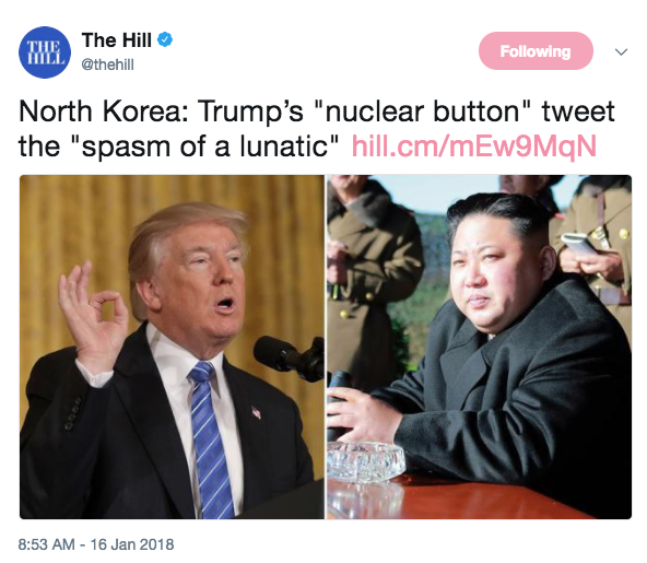 Screen Shot 2018 01 16 at 9.56.38 AM - Here's North Korea's worst tirade yet after Trump's nuclear button comment - 'Lunatic, loser, psychopath...'