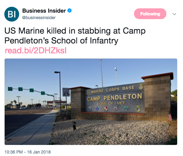 Screen Shot 2018 01 17 at 10.55.03 AM - Marine stabbed and killed in fight at Camp Pendleton, another in custody