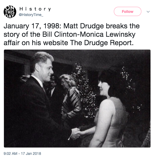 Screen Shot 2018 01 17 at 2.29.34 PM - Bill Clinton's sex scandal with Monica Lewinsky was exposed 20 years ago today