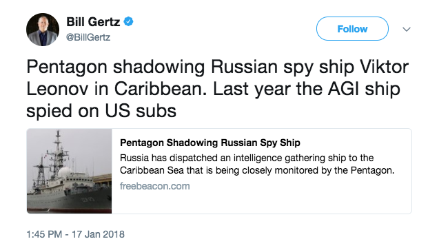 Screen Shot 2018 01 19 at 3.34.00 PM - Russian spy ship approaches US coastline - again