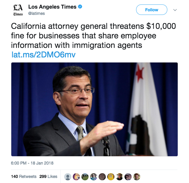 CA Attorney General threatens to prosecute employers who aid ICE