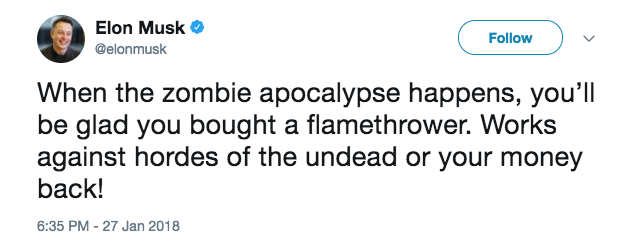 Screen Shot 2018 01 29 at 11.10.33 AM - Elon Musk just made $10 million selling flamethrowers