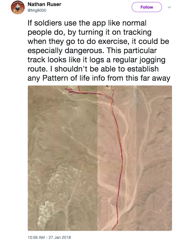 Screen Shot 2018 01 29 at 9.48.23 AM - Overseas soldiers are exposing sensitive military locations by using fitness tracking devices