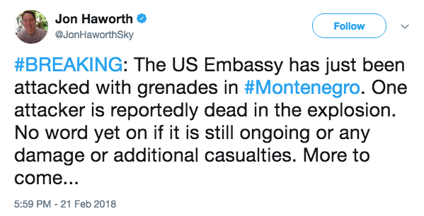 US Embassy in Montenegro attacked with grenade, prompting security scare