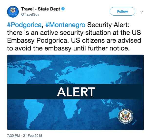 'Small explosion' near United States embassy in Montenegro, investigation 'evolving'