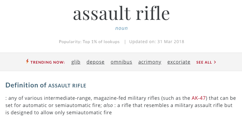 Screen Shot 2018 04 03 at 10.11.57 AM - Merriam-Webster changes 'assault rifle' in dictionary after school shooting