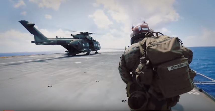 Sea Based Raid - Marines Participate In Vertical Assault Off A British Merlin Mk3 Helicopter