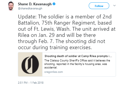 Shane D. Kavanaugh - Soldier dies in accidental shooting at Oregon training center