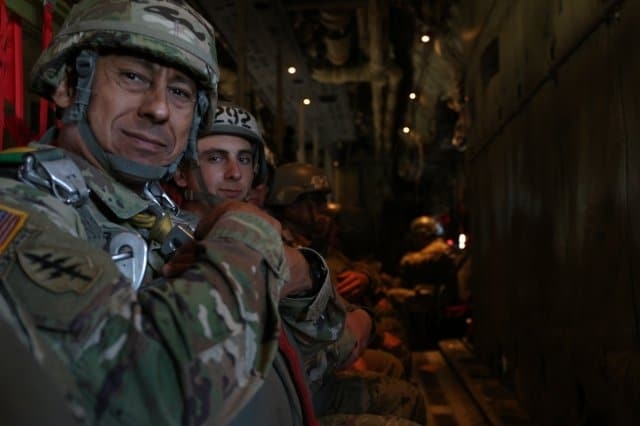 Soldier passes torch to son with final airborne jump