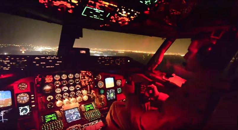 Stratotanker Night View - Watch A U.S. Air Force 22nd Air Refueling Wing Crew Bring A KC-135 Stratotanker In For A Night Landing
