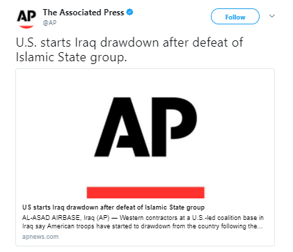 The Associated Press 1 - US starts drawdown of troops in Iraq after declaring victory over ISIS