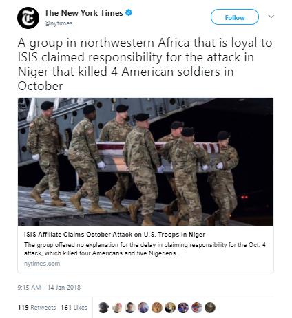 The New York Times 1 - ISIS Africa claims ambush attack that killed 4 US soldiers in Niger