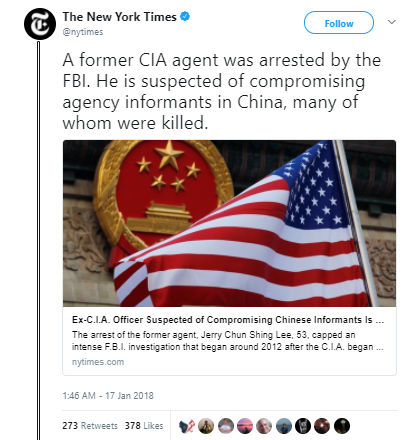 The New York Times 2 - Ex-CIA officer arrested: Gave China US informants who were killed or tortured