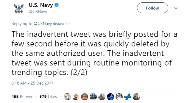 U.S. Navy 1- Navy sends inadvertent tweet about Julian Assange and Assange replies