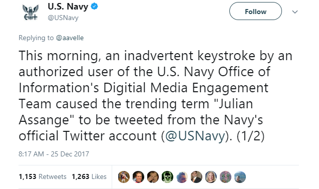 U.S. Navy- Navy sends inadvertent tweet about Julian Assange and Assange replies