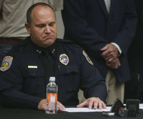 Odessa Police Chief Michael Gerke takes a moment during a press conference at the University of Texas Permian Basin on Sunday, Sept. 1, 2019 in Odessa, Texas. (Ryan Michalesko/The Dallas Morning News/TNS)