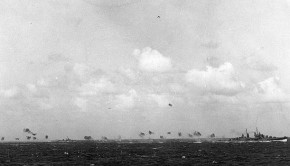 Photo # 80-G-216804  USS Oakland firing on Japanese planes during the Marshall Island raids, Dec. 1944