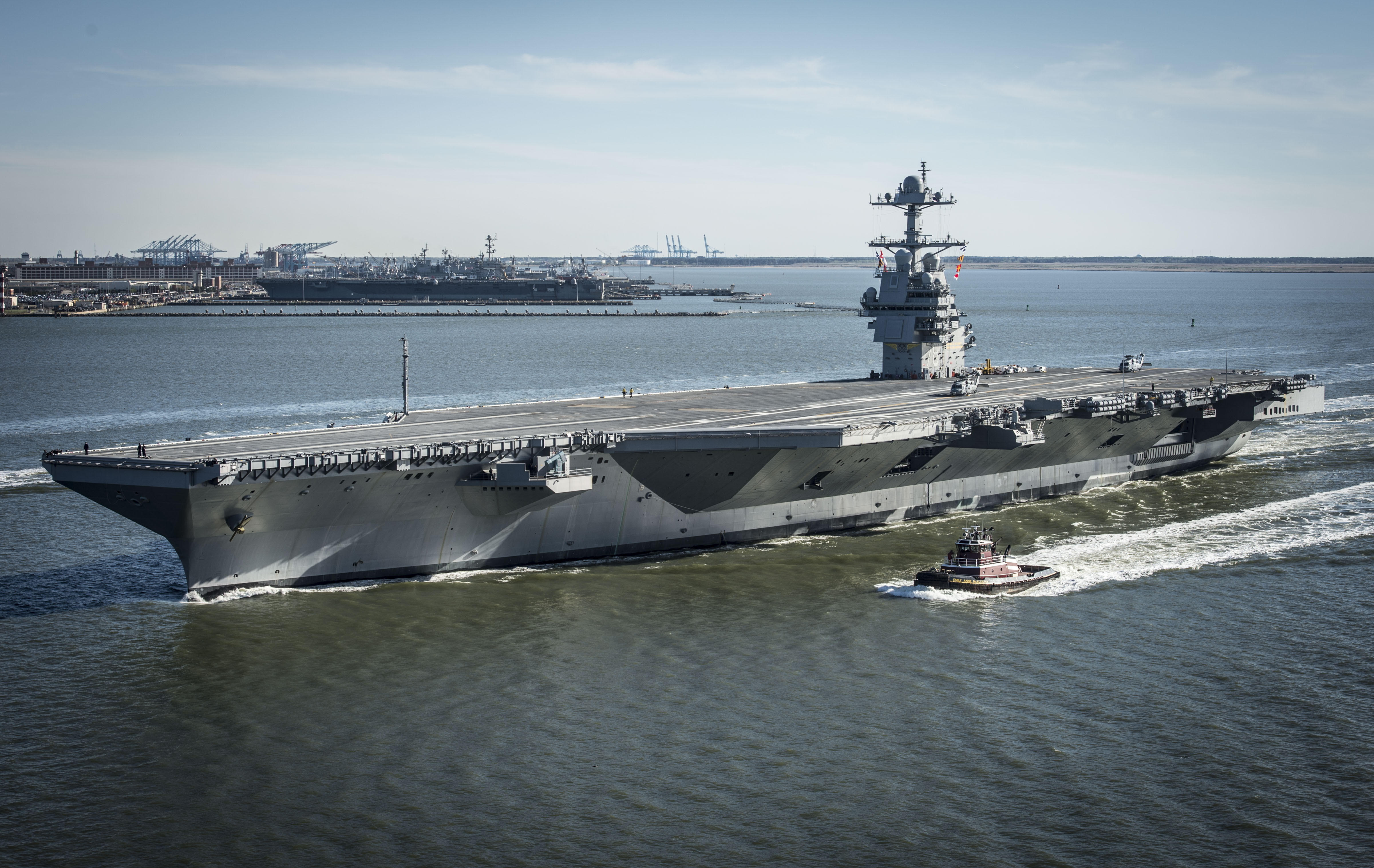 USS Gerald R. Ford CVN 78 underway on 8 April 2017 - The US Navy may skip an important test so it can get its futuristic new aircraft carrier sooner