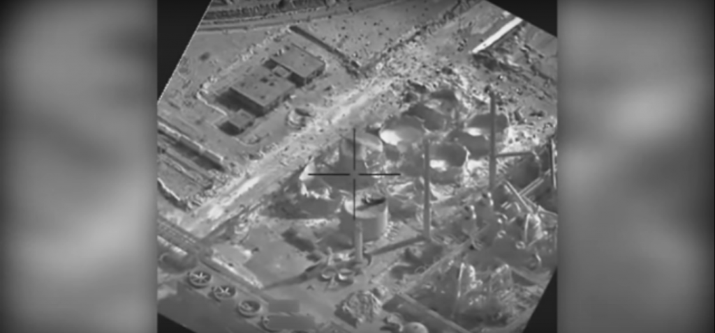 Watch airstrike destroy ISIS IED making facility & chemical munitions plant