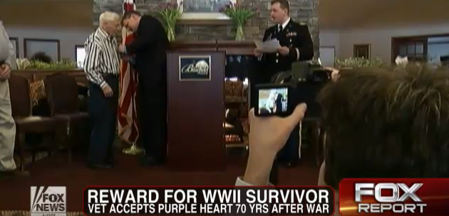 (Video) 70 Years Later, WWII Vet Receives Purple Heart Featured