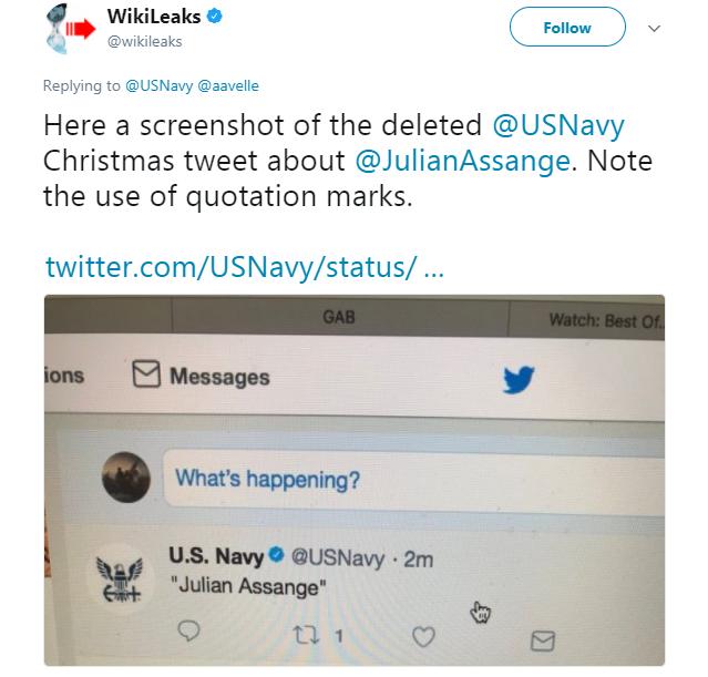 Wikileaks - Navy sends inadvertent tweet about Julian Assange, and Assange replies