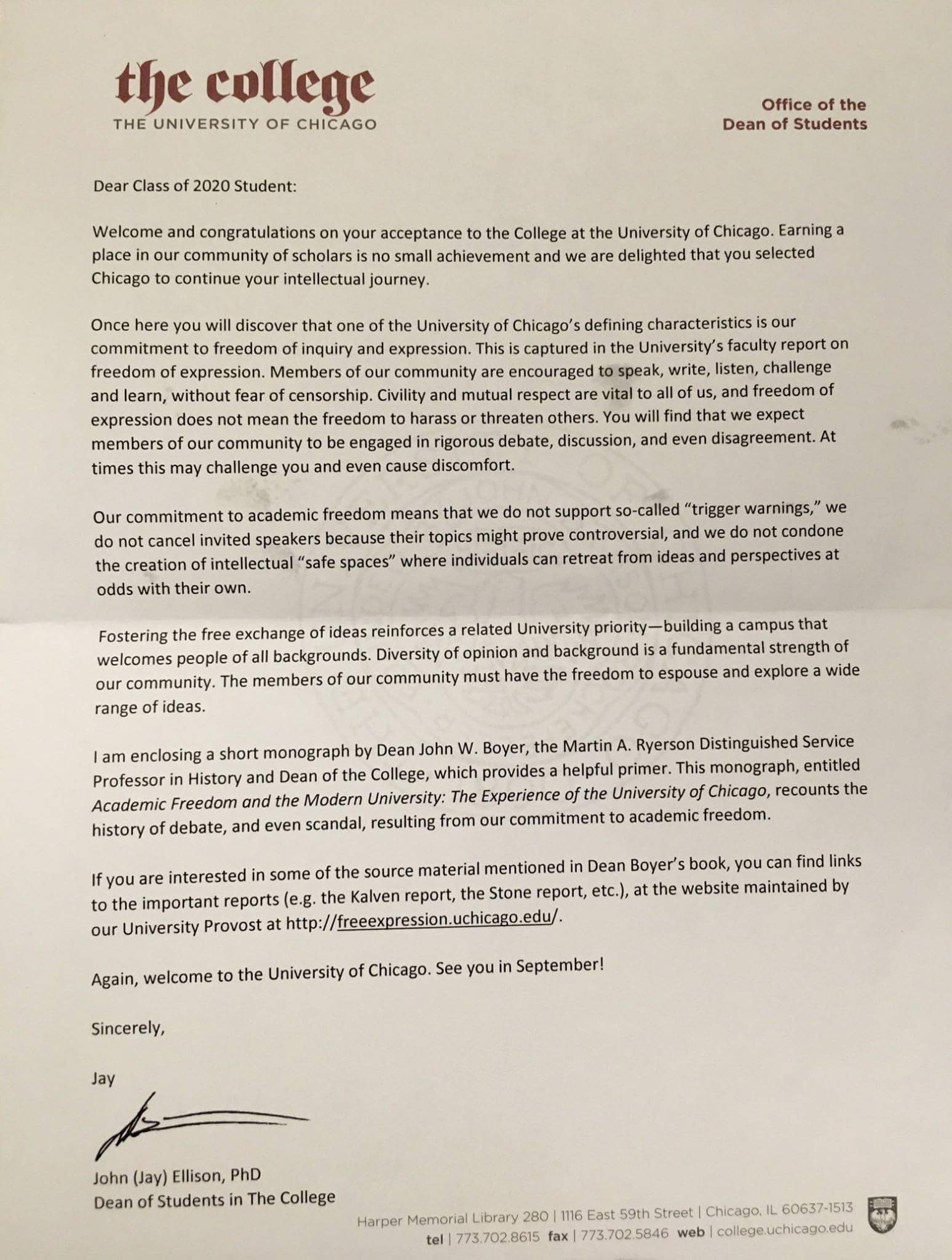 acceptance letter - Safe Spaces Denied To Incoming Freshman In Anti-PC Culture Letter From University Of Chicago