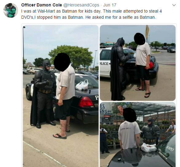 cole 1 - Off-duty cop dressed as Batman stops shoplifter from stealing 'Lego Batman' movie