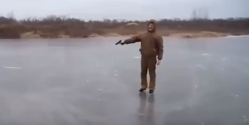 You'll Seriously Be Surprised At What Happens When A Bullet Is Shot At A Frozen Pond Featured