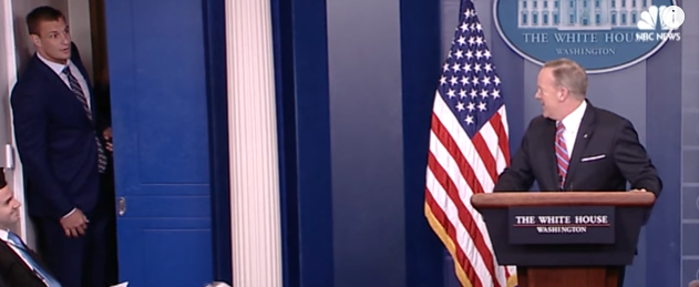 Patriots Player Rob Gronkowski Crashes White House Press Briefing Featured