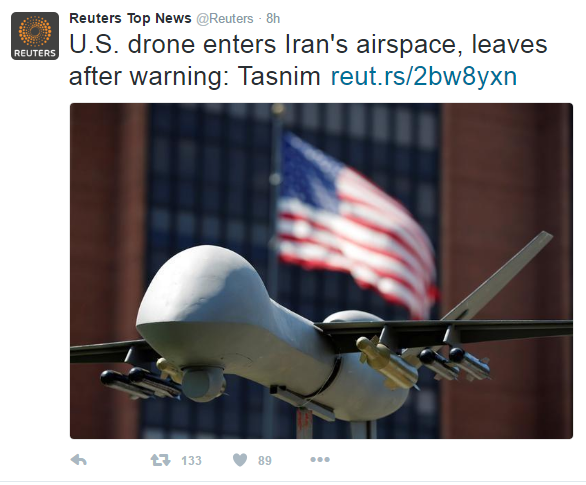 iran - U.S. Spy Drone Forced To Leave Iranian Airspace After Warning From Iranian Government