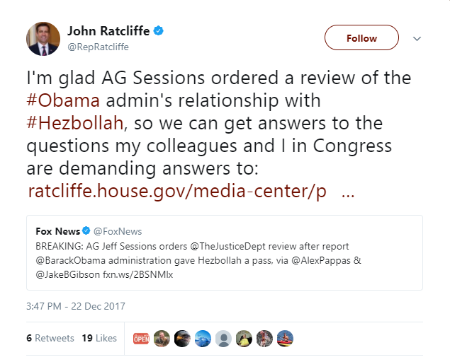john ratcliffe - AG Sessions orders DOJ to review Obama admin scheme to cancel Hezbollah terror investigation to get Iran nuclear deal signed