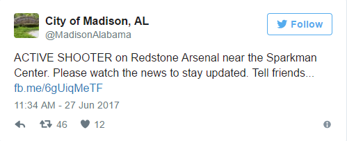 madison - BREAKING: Alabama Army installation locked down over 'possible active shooter'