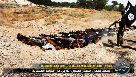 Civilians are forced to lie in a mass, shallow grave and slaughtered by Islamists.
