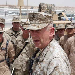 AL ASAD, Iraq – Lt. Gen. James Mattis, the commander of U.S. Marine Corps Forces Central Command, speaks to Marines with Marine Wing Support Group 27, May 6. Mattis explained how things in Iraq have gotten better since the first time Marines came to Iraq.