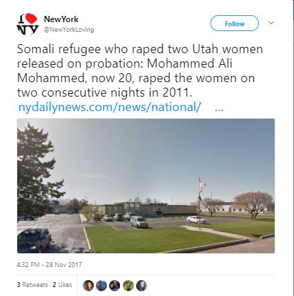 new york - Somali refugee who raped two Utah women when he was 14 avoids jail time