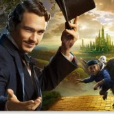 James Franco, playing Oz, monkey, china girl, and green castle