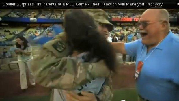 Soldier Surprises His Dodger Fan Parents Featured