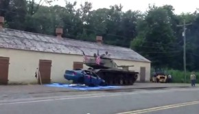 Tank Crushes Car