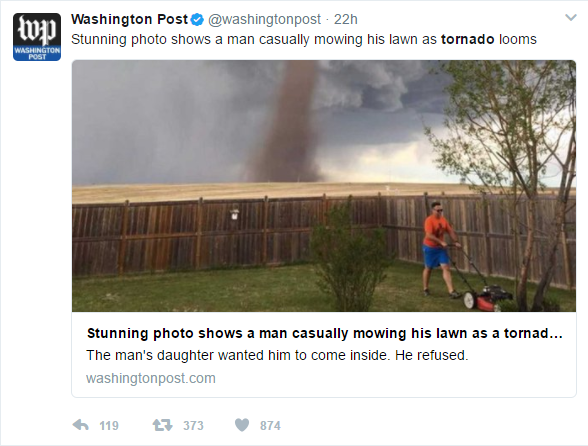 Photo Gone Viral Canadian Man Mows Lawn With Tornado In Background